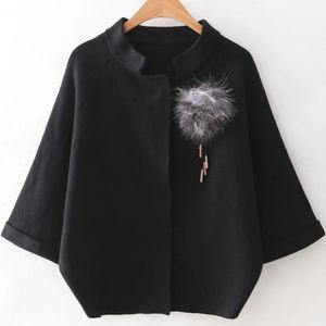 Sweaters - Raglan Sleeve Sweater Coat With Brooch